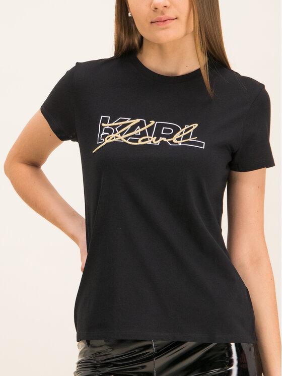 KARL LAGERFELD KARL LAGERFELD Póló Double Logo 96KW1709 Fekete Regular Fit