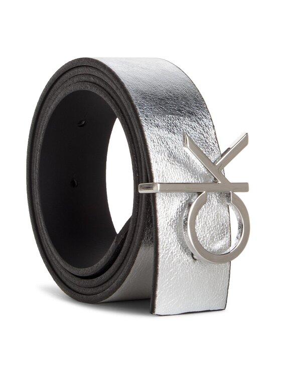 Calvin Klein Calvin Klein Dámský pásek 3 Cm Ck Rev. Belt Giftpack K60K604907 Stříbrná