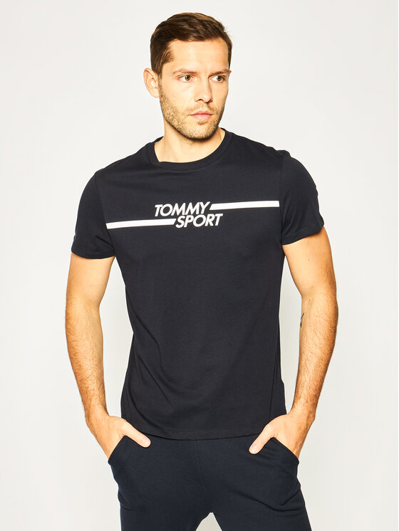 Tommy Sport Marškinėliai Core Chest Graphic S20S200444 Tamsiai mėlyna Regular Fit