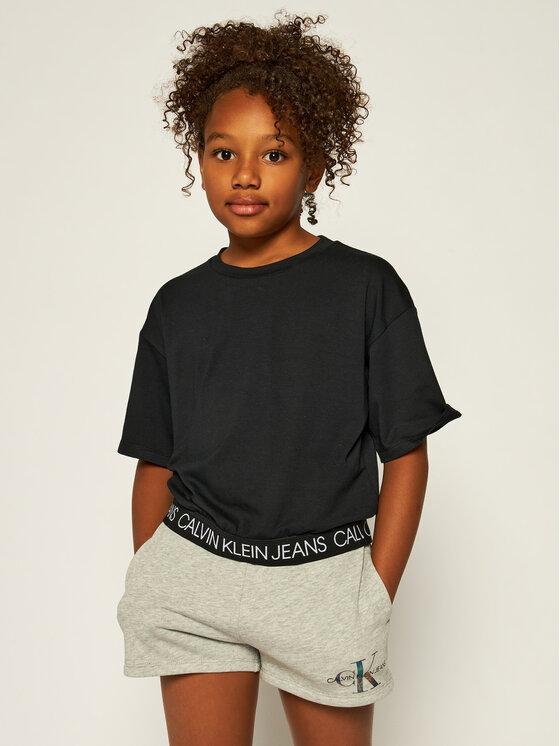 Calvin Klein Jeans Calvin Klein Jeans Póló Logo Waistband Cropped IG0IG00384 Fekete Regular Fit