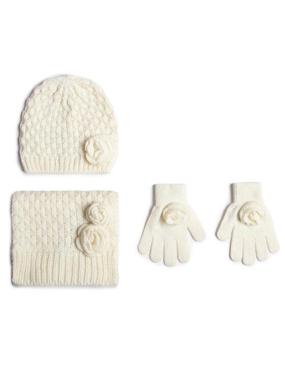 Mayoral Zestaw czapka, szalik i rękawiczki 10897 Biały