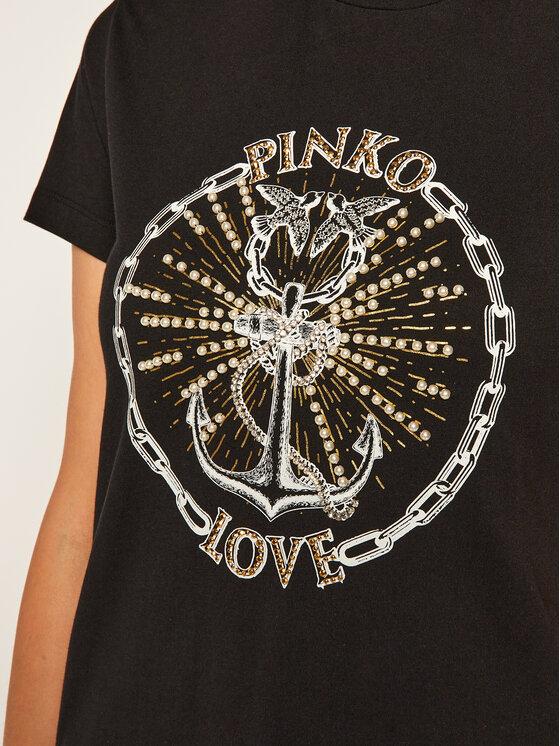 Pinko Pinko Marškinėliai Edgardo AI 20-21 BLK01 1G15BM Y6EV Juoda Regular Fit