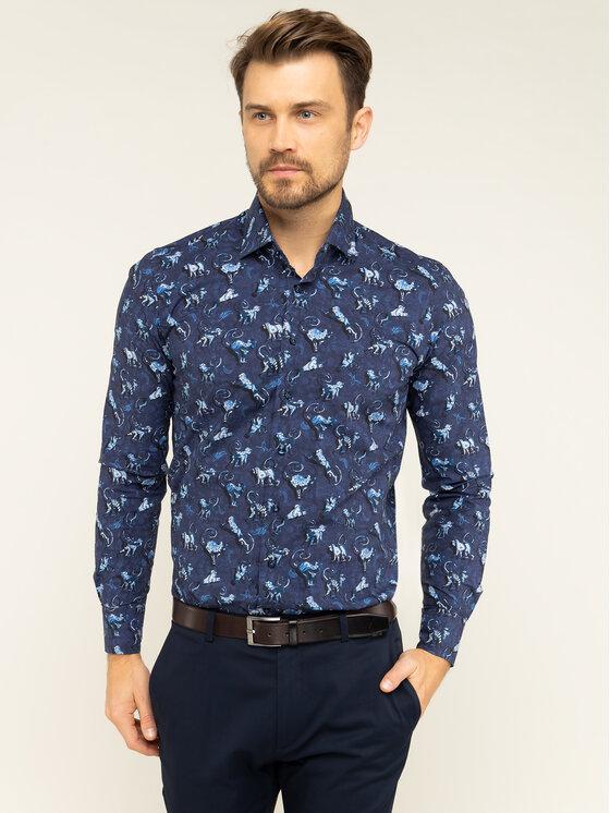 Emanuel Berg Marškiniai Crown MCR37 Tamsiai mėlyna Slim Fit