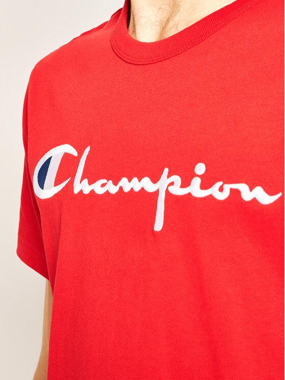 Champion Champion T-Shirt Script Logo Crew 210972 Červená Comfort Fit
