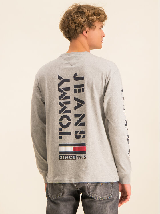 Tommy Jeans Tommy Jeans Тениска с дълъг ръкав Tjm Bubbled Flags DM0DM07441 Сив Regular Fit