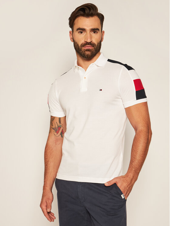 TOMMY HILFIGER TOMMY HILFIGER Polo Gs Sleeve Color Block MW0MW14434 Blanc Slim Fit