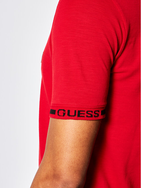 Guess Guess Polo Geoff M02P48 K7O80 Czerwony Slim Fit