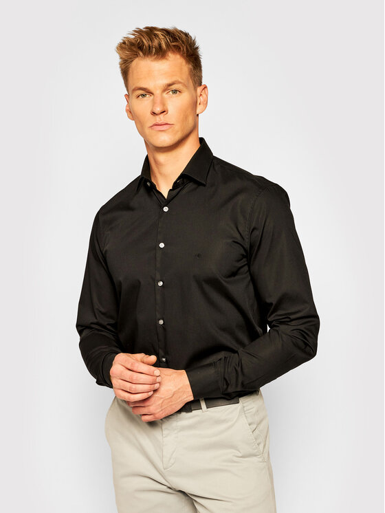 Calvin Klein Koszula 2ply Poplin Stretch Slim Shirt K10K103025 Czarny Slim Fit