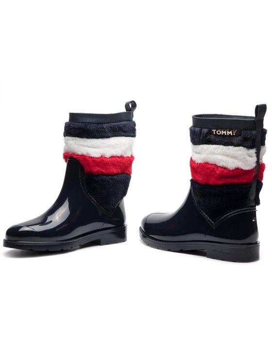 TOMMY HILFIGER TOMMY HILFIGER Holínky Corporate Faux Fur Rain Boot FW0FW03616 Tmavomodrá