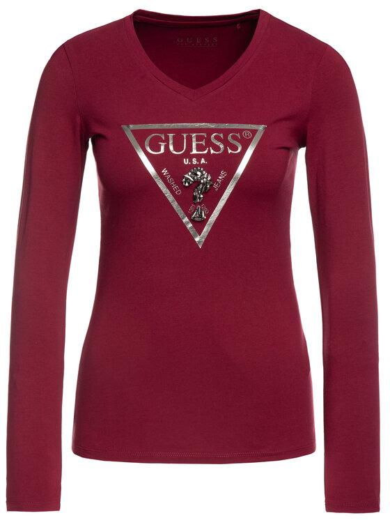 Guess Guess Blusa W94I85 K7DE0 Bordeaux Slim Fit