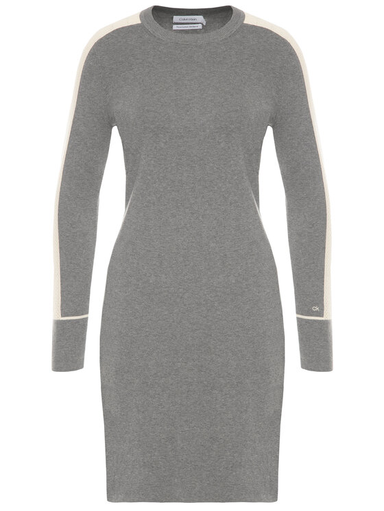 Calvin Klein Calvin Klein Плетена рокля Knitted Sweater K20K201726 Сив Regular Fit