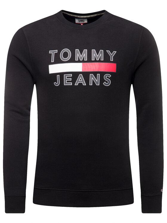 Tommy Jeans Tommy Jeans Bluză Tjm Essential Graphic Crew DM0DM07413 Negru Regular Fit