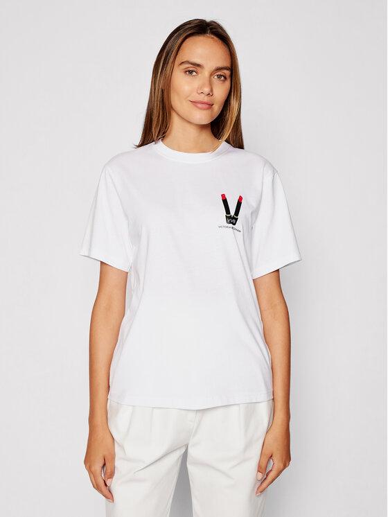 Victoria Victoria Beckham Marškinėliai Lipstick 2321JTS003008A Balta Relaxed Fit
