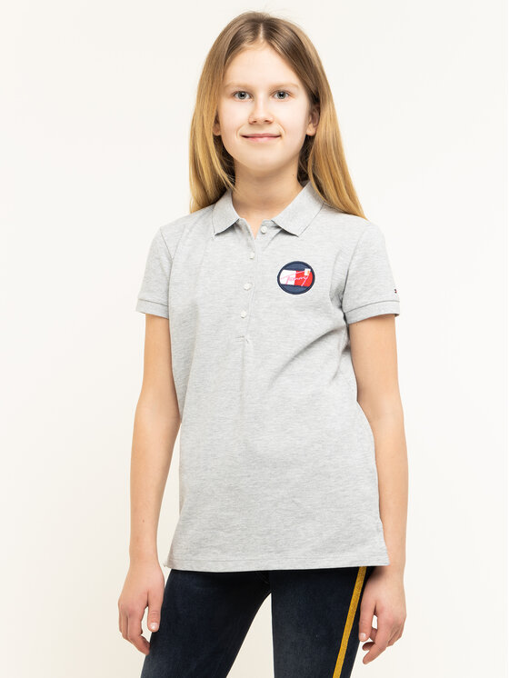 Tommy Hilfiger Tommy Hilfiger Тениска с яка и копчета Essential KG0KG04872 D Сив Regular Fit