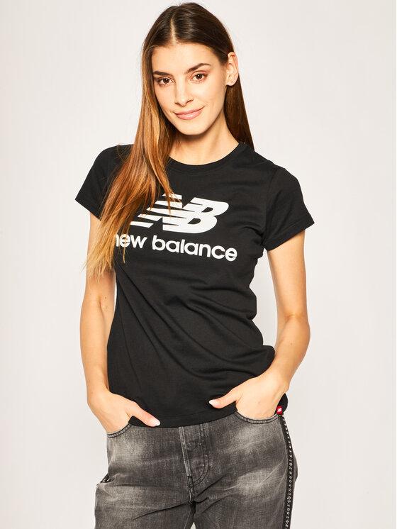 New Balance New Balance Marškinėliai Essentials Stacked Logo Tee WT91546 Juoda Athletic Fit
