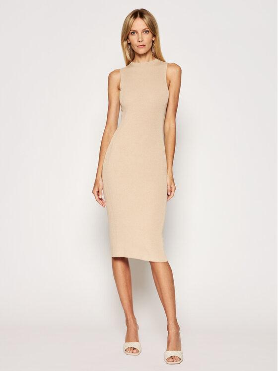 Kontatto Trikotažinė suknelė 3M7227 Smėlio Slim Fit