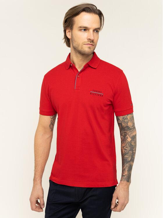 TOMMY HILFIGER TOMMY HILFIGER Тениска с яка и копчета Logo Embroidery MW0MW12246 Червен Regular Fit