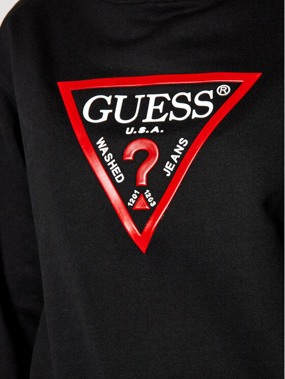 Guess Guess Mikina Vinyl Triangle Fleece W0BQ05 K8800 Černá Relaxed Fit
