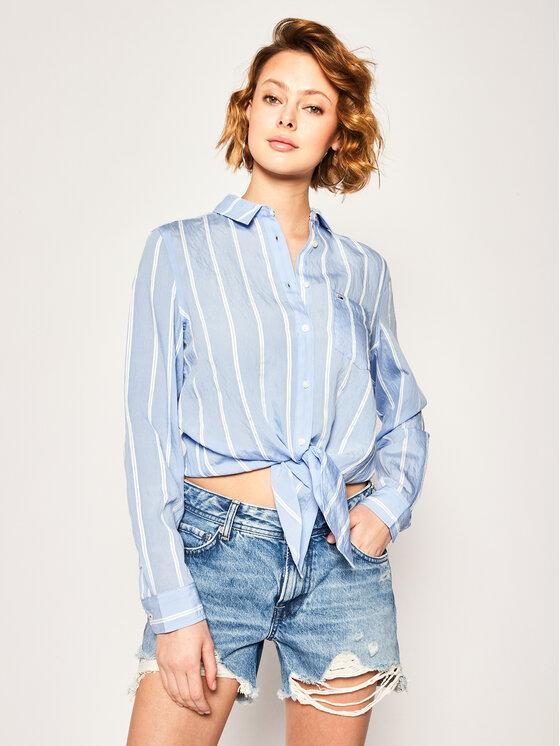 Tommy Jeans Tommy Jeans Hemd Front Knot DW0DW07945 Blau Regular Fit