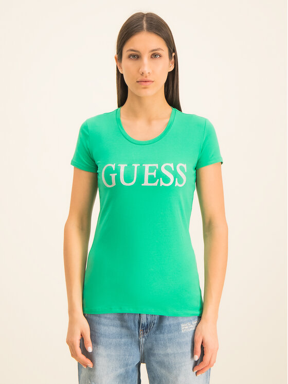 Guess Guess Tricou Crystal W01I74 J1300 Verde Regular Fit