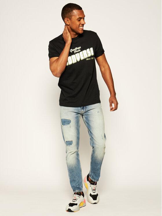 Converse Converse T-Shirt Greetings 10019604-A02 Μαύρο Regular Fit