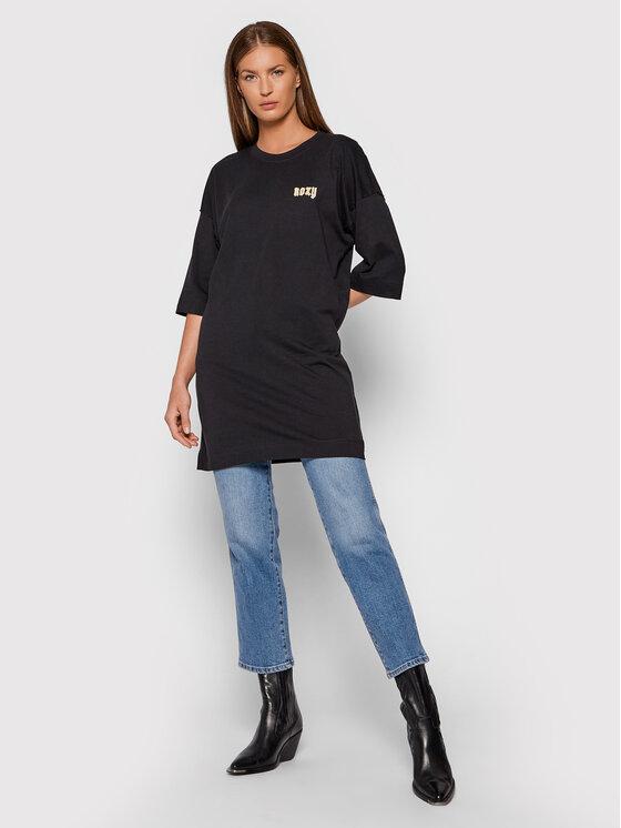 Roxy Roxy Bluzka Macrame ERJZT05254 Czarny Oversize