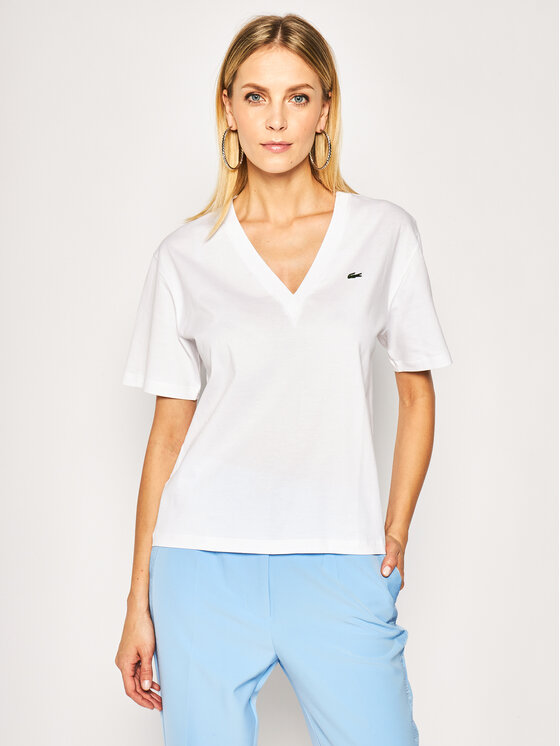 Lacoste Lacoste Тишърт TF5458 Бял Regular Fit