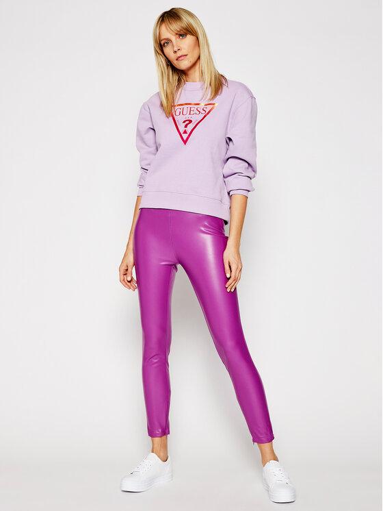 Guess Guess Pantaloni din imitație de piele Priscilla W1RB25 WBG60 Violet Slim Fit