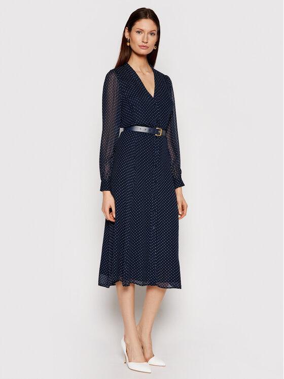 MICHAEL Michael Kors Sukienka koszulowa Polka Dot Crepe Georgette MS18Y461BU Granatowy Regular Fit
