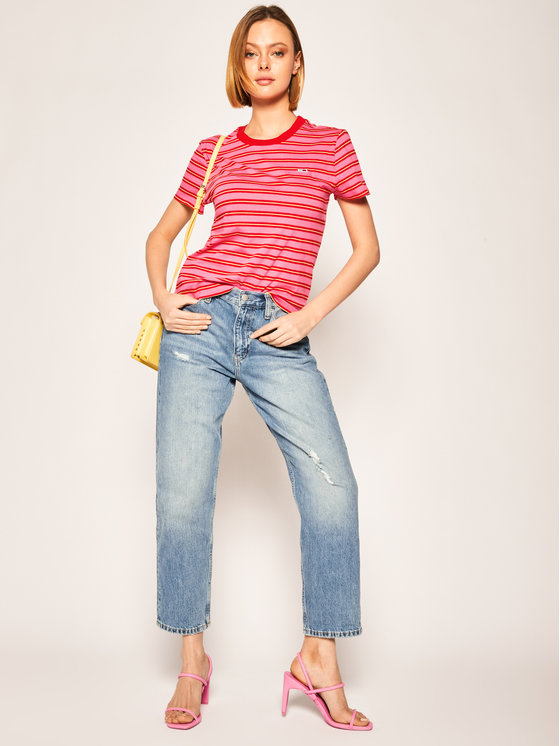 Tommy Jeans Tommy Jeans Marškinėliai Classics DW0DW08003 Rožinė Regular Fit