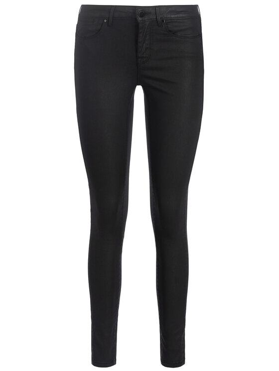 Guess Guess Παντελόνι από απομίμηση δέρματος Jegging Mid W93A03 D3OZ0 Μαύρο Slim Fit