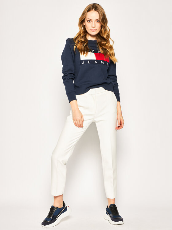 Tommy Jeans Tommy Jeans Bluza Flag DW0DW07414 Granatowy Regular Fit