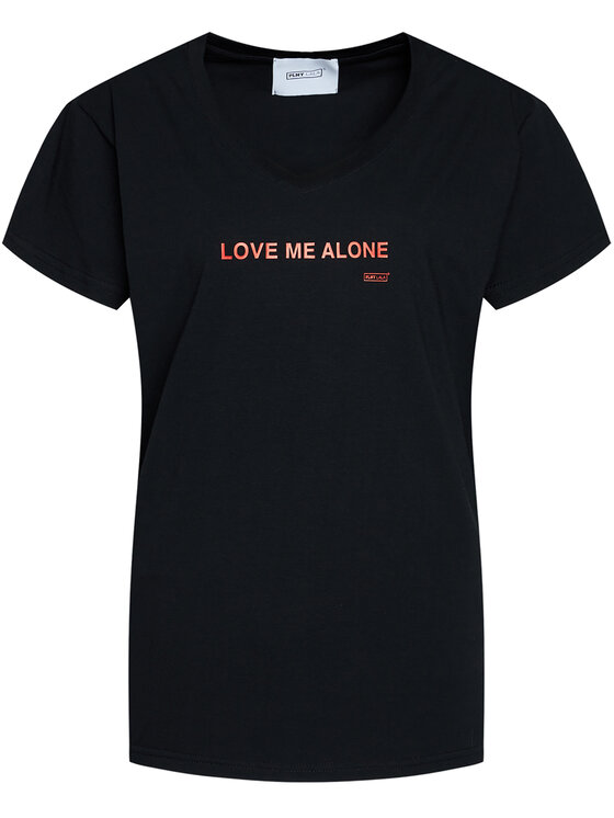 PLNY LALA PLNY LALA T-Shirt Love Me Alone PL-KO-VN-00106 Czarny Regular Fit