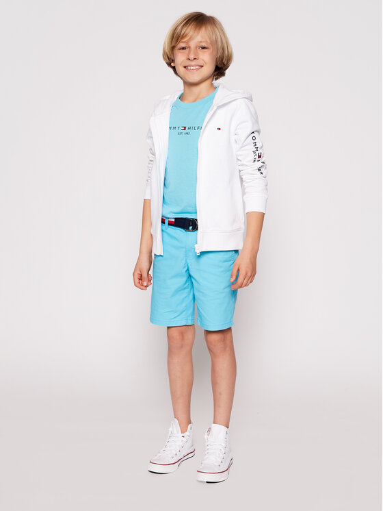 Tommy Hilfiger Tommy Hilfiger Bluza Essential Hooded Zip Through KB0KB06341 D Biały Regular Fit