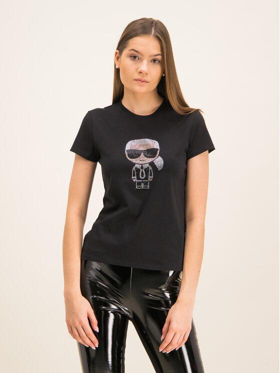 KARL LAGERFELD KARL LAGERFELD T-Shirt Ikonik Rhinestone 96KW1720 Μαύρο Regular Fit