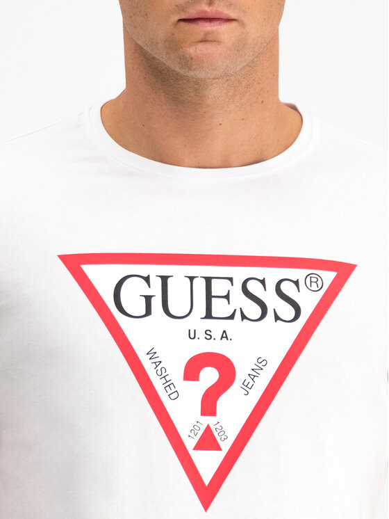 Guess Guess Tričko M94I42 I3Z00 Biela Slim Fit