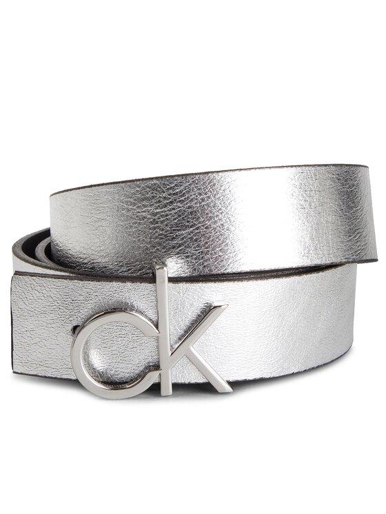 Calvin Klein Calvin Klein Dámsky opasok 3 Cm Ck Rev. Belt Giftpack K60K604907 Strieborná