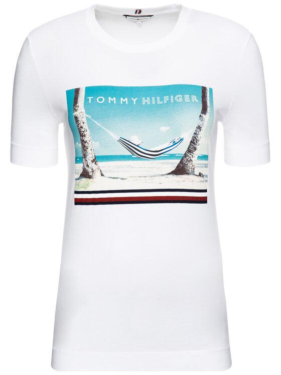 TOMMY HILFIGER TOMMY HILFIGER T-shirt Beach Print WW0WW25178 Blanc Regular Fit