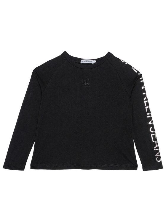 Calvin Klein Jeans Calvin Klein Jeans Bluzka Foil Logo Ls Boxy IG0IG00667 Czarny Regular Fit