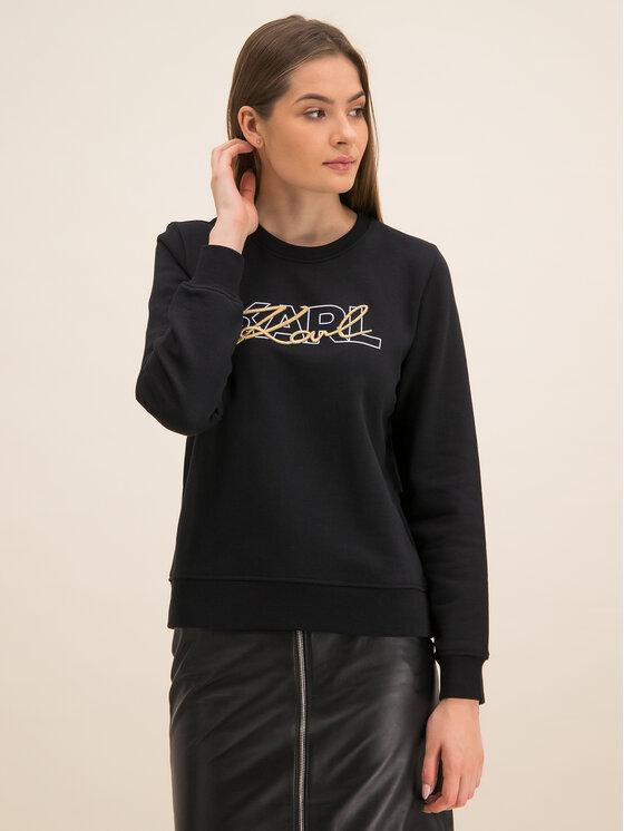 KARL LAGERFELD KARL LAGERFELD Пуловер Double Logo 96KW1814 Черен Regular Fit
