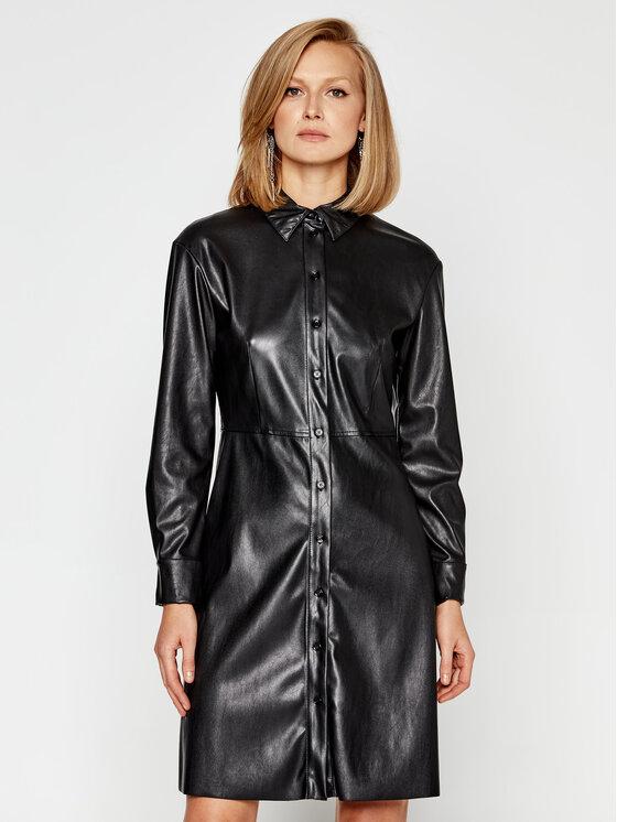 MAX&Co. Dirbtinės odos suknelė Danubio 66249520 Juoda Regular Fit