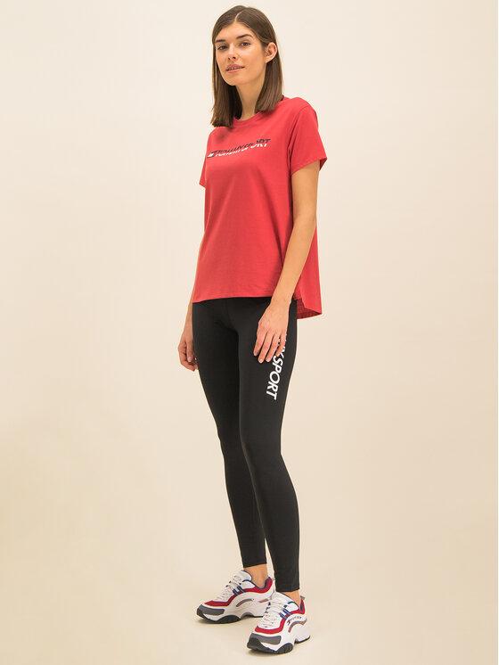 Tommy Sport Tommy Sport T-Shirt Tee Logo S10S100061 Czerwony Regular Fit