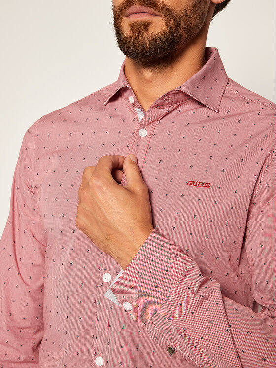 Guess Guess Camicia M92H13 WBGG0 Rosso Regular Fit