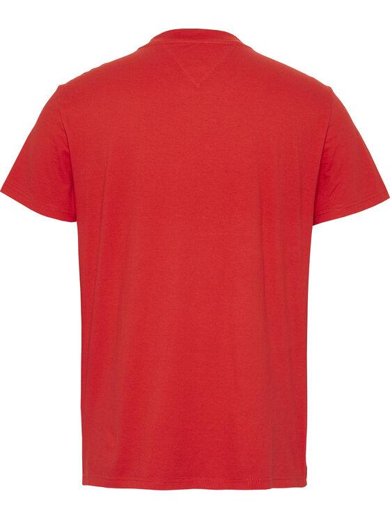 Tommy Jeans Tommy Jeans Marškinėliai Chest Stripe Logo Tee DM0DM07858 Raudona Regular Fit