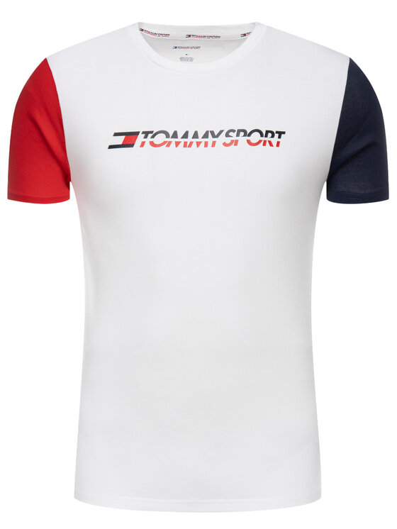 Tommy Sport Tommy Sport Tricou S20S200103 Alb Regular Fit