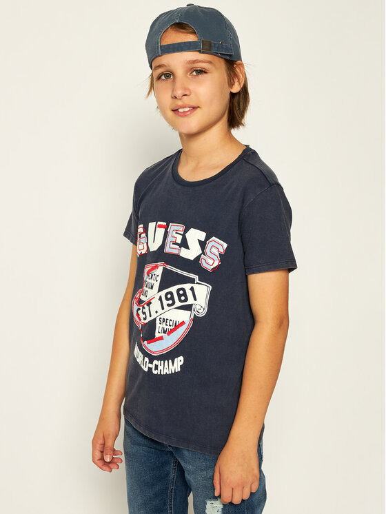 Guess Guess T-Shirt L01I13 K82C0 Granatowy Regular Fit