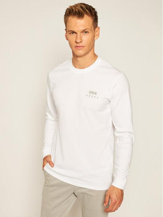 Edwin Marškinėliai ilgomis rankovėmis Logo Chest Ts I028563 TJ26J94 0267 Balta Regular Fit