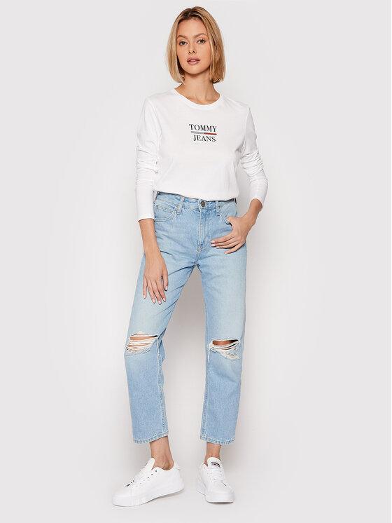 Tommy Jeans Tommy Jeans Bluzka Essential DW0DW10406 Biały Slim Fit