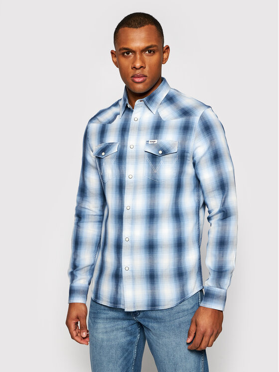 Wrangler Koszula Western W5A09TXVT Niebieski Regular Fit