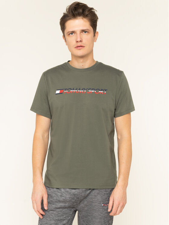 Tommy Sport Marškinėliai Logo Chest S20S200051 Žalia Regular Fit